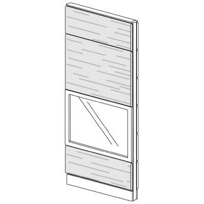 PLUS(プラス)オフィス家具 LFパネル ガラス・木質コンビパネルセット パネル4段 H1925 W(幅)700 D(奥行き)60 H(高さ)1925