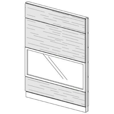 PLUS(プラス)オフィス家具 LFパネル ガラス・木質コンビパネルセット パネル4段 H1925 W(幅)1200 D(奥行き)60 H(高さ)1925