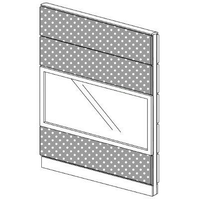 PLUS(プラス)オフィス家具 LFパネル(PET再生クロス) クロス・ガラスコンビパネルセット パネル4段 H1625 W(幅)1100 D(奥行き)60 H(高さ)1625