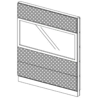 PLUS(プラス)オフィス家具 LFパネル(光触媒クロス) クロス・ガラスコンビパネルセット パネル4段 H1625 W(幅)1200 D(奥行き)60 H(高さ)1625