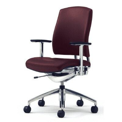 PLUS(プラス)オフィス家具 Reorga premium 本革タイプ ミドルバック 肘付 標準仕様ナイロンキャスター W(幅)648 D(奥行き)633 H(高さ)