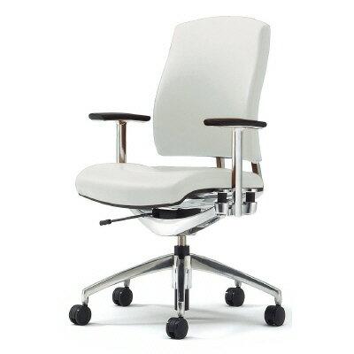 PLUS(プラス)オフィス家具 Reorga premium 本革タイプ ミドルバック 肘付 ウレタンブレーキキャスター W(幅)648 D(奥行き)633 H(高さ)