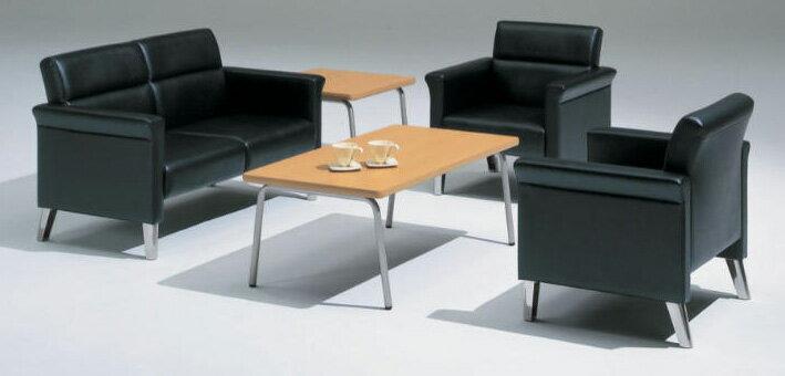応接セット 3点セット 【 RP-6型 】 【 パイプ脚 チェア 】  PVCレザー張り ブラック色タイプ  ( セット内容 計3点 = 長イス1点 + 両肘椅子2点 )