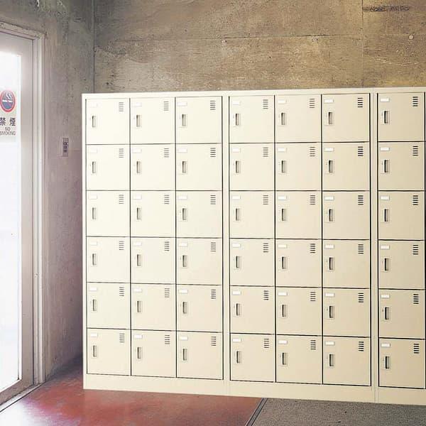 生興 SLCシューズボックス 錠����手 ニューグレー色 3列6段18人用 W900×D380×H1790 SLC-18T-K