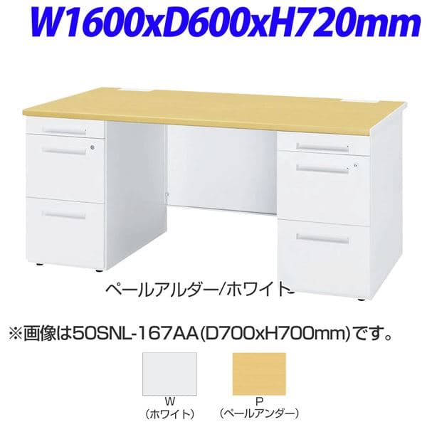 TOYOSTEEL 50Sシリーズ 両袖デスク センター引出なし W1600×D600×H720mm 50SNH-166AA