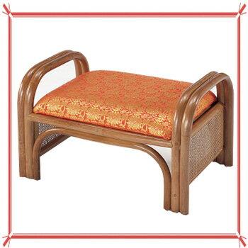 ラタン 籐ご仏前金襴座椅子 ロータイプ(朱色生地ブラウン色フレーム) C46【送料無料】【大川家具】【smtb-MS】【RCP】【TPO】【KOU】【OBM】【snp】