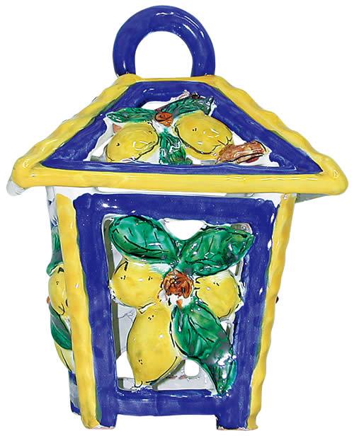 イタリア製ランタン レモン (陶器)  ランプ 提灯