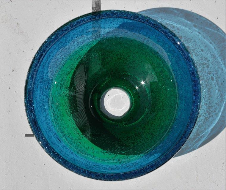 [��]��ガラス�手洗�ボウル[3日以内発��] NO-12[��緑]��り�サイズ[�料1620円]径24CM