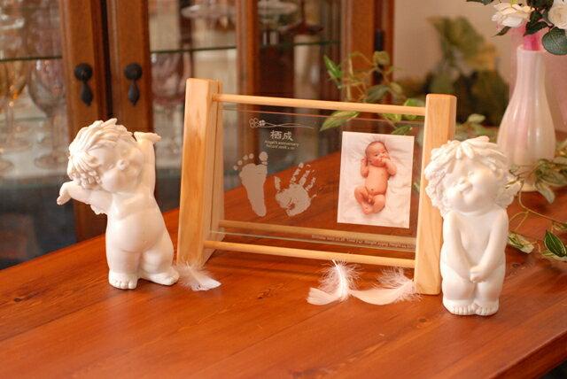天使の記念日 ベビー/赤ちゃん手足型/フォトフレーム/出産祝い/内祝い名前入りギフト/メモリアルフォトフレーム/スタンド