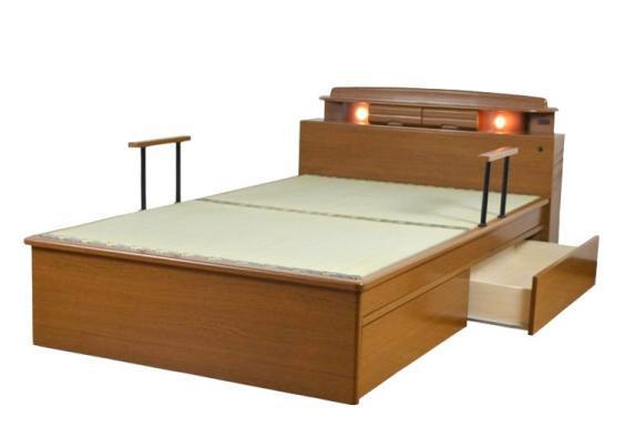 【smtb-kd】 畳ベッド 手すり付 セミダブルベッド タタミベッド たたみベッド  木製