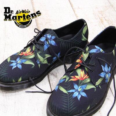 【 セール sale 】 正規品 Dr.Martens LESTER BLACK 15821003 ドクターマーチン 3ホール 花柄 シューズ ブラック メンズ レディース 靴 【 マーチン 8 hole に並ぶ人気シリーズ 】