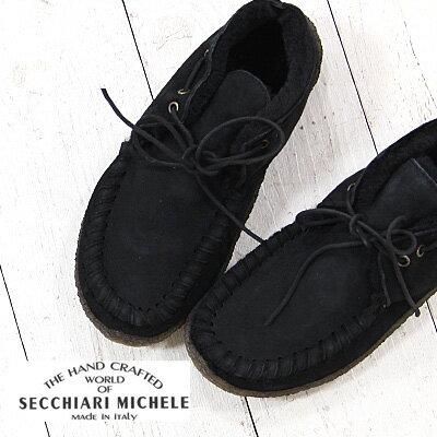 SECCHIARI MICHELE (PUNTO PIGRO)  NAWAYOS MONTONE NERO セッキアーリミケーレ ブーツ ショート ムートン レディース