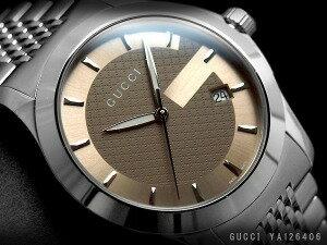 GUCCI グッチ メンズ腕時計 Gタイムレスコレクション ブラウンダイアル シルバー ステンレスベルト YA126406【ネコポス不可】