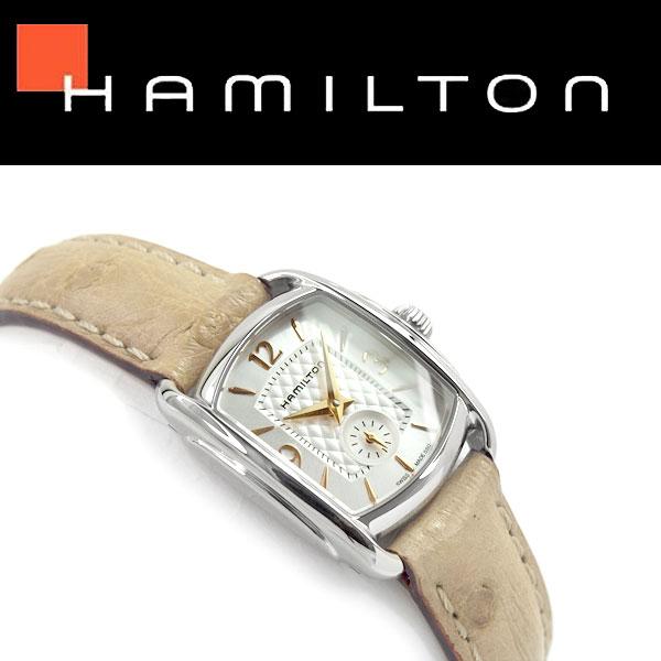 【Hamilton】ハミルトン アメリカンクラシック バグリー クォーツ レディース腕時計 ホワイトシルバーダイアル ベージュ レザーベルト H12351855【あす楽】