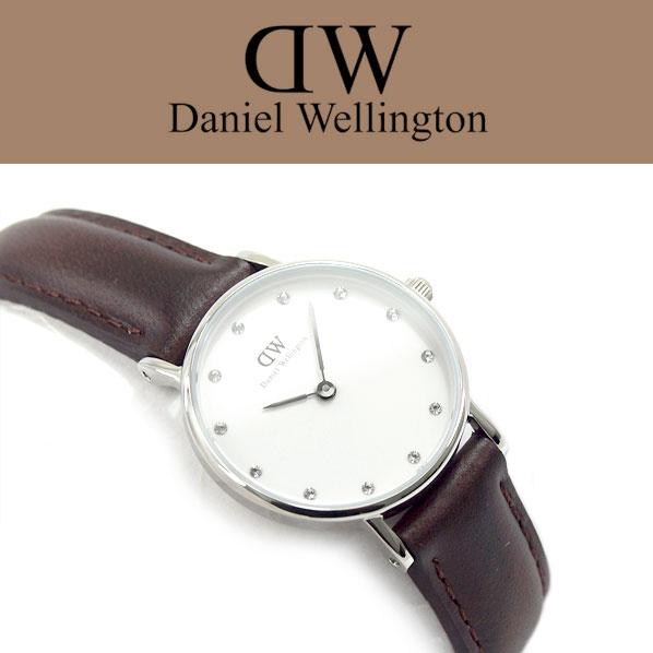 ダニエルウェリントン Daniel Wellington クラッシー セイントモーズ クォーツ レディース 腕時計 ホワイトダイアル シルバーケース ブラウン レザーベルト DW00100067 0920DW 【ネコポス不可】【あす楽】