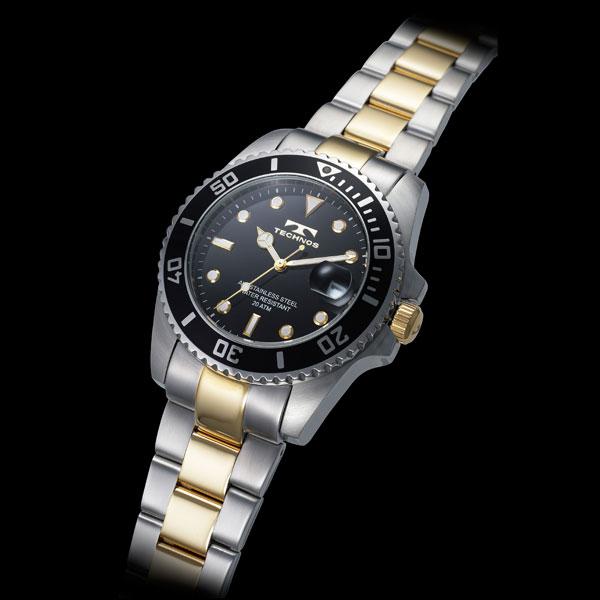 【TECHNOS】テクノス ダイバーウォッチメンズ 腕時計 ブラックダイアル ステンレスベルト T2118TB