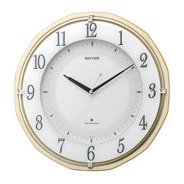 リズム RHYTHM 掛け時計 リバライトRW496 電波時計 8MY496SR06 薄茶半艶仕上