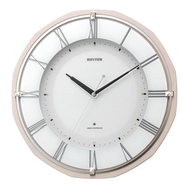 リズム RHYTHM 掛け時計 リバライトRW496 電波時計 8MY496SR13 ピンク半艶仕上