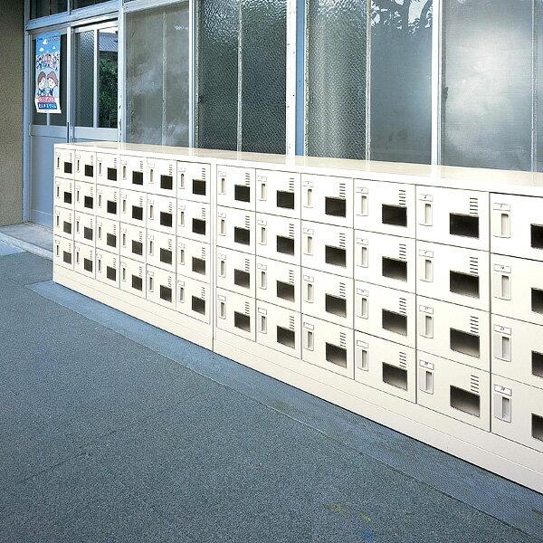 生興 SLCシューズボックス(窓付きタイプ) 内筒交換錠取っ手 ニューグレー色 3列4段12人用 W900×D380×H880 SLC-M12W-T【代引不可】