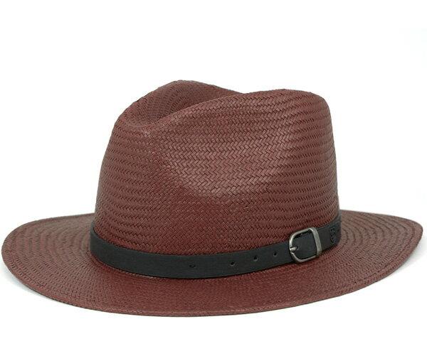 ブリクストン(BRIXTON) ストローハット 麦わら帽子 中折れ レイトン バーガンディー 帽子 HAT LEIGHTON BURGUNDY メンズ[RD] #HA:S