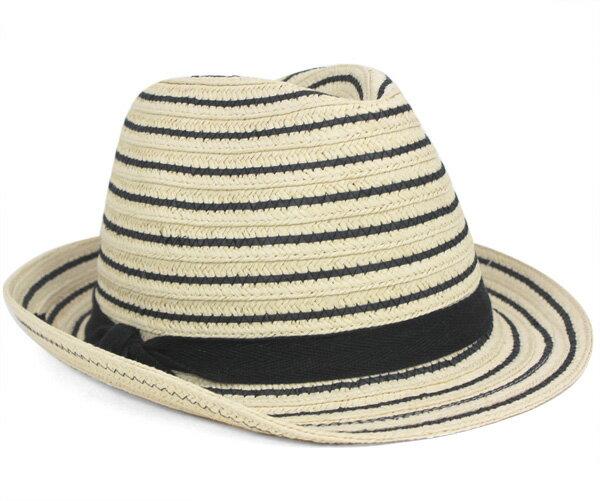 ハットアタック ストローハット 麦わら帽子 フェドラ ブラックストライプ 帽子 HAT ATTACK STRAW HAT BLACK STRIPE FEDORA BLACK STRIPE ストローハット メンズ #WN