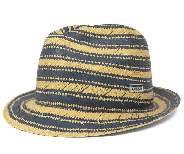 カンゴール(KANGOL) ハット ストライプ トリルビー インク 帽子 HAT STRIPE TRILBY INK ストローハット 麦わら帽子 メンズ