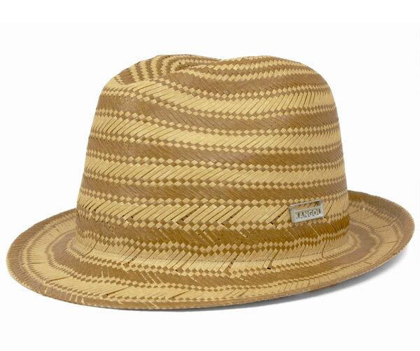 カンゴール(KANGOL) ハット ストライプ トリルビー ナチュラル 帽子 HAT STRIPE TRILBY NATURAL ストローハット 麦わら帽子 メンズ