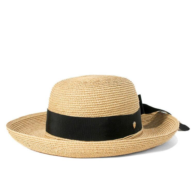 ヘレンカミンスキー 麦わら帽子 ハット グログランリボン ラフィアブレード ベージュ HELEN KAMINSKI 帽子 メンズ レディース