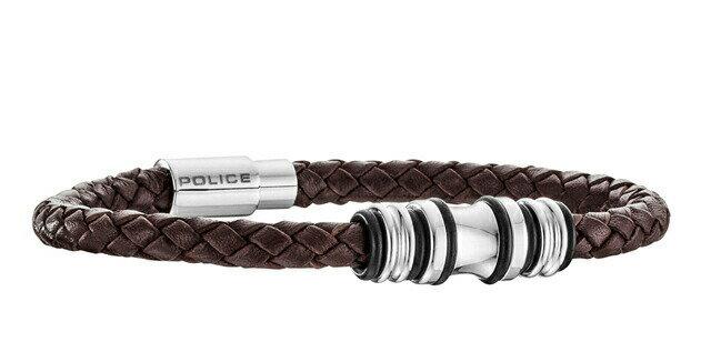 ポリス ブレスレット POLICE TRUCKER 25488BLC02 レザー ステンレススチール メンズ