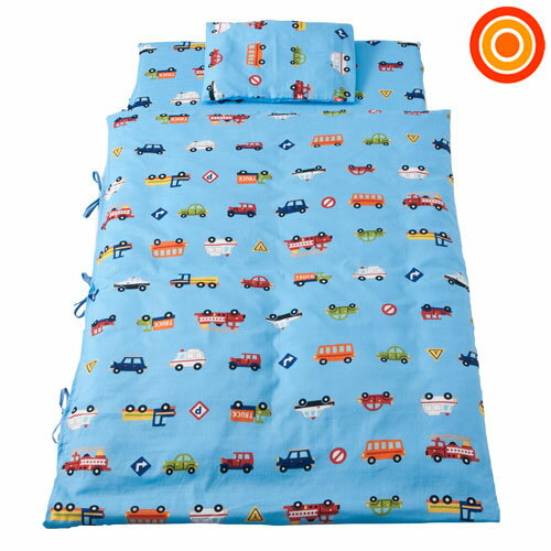 【送料無料】フジキ Wガーゼ携帯用布団7点セット くるまパーク(ブルー)
