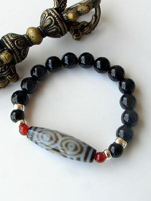 天珠 パワーストーン ブレスレット / 龍眼天珠 シルバー925 天然石 チベット天珠(てんじゅ) dzi beads(ジービーズ) / 天珠の王 財運 成功