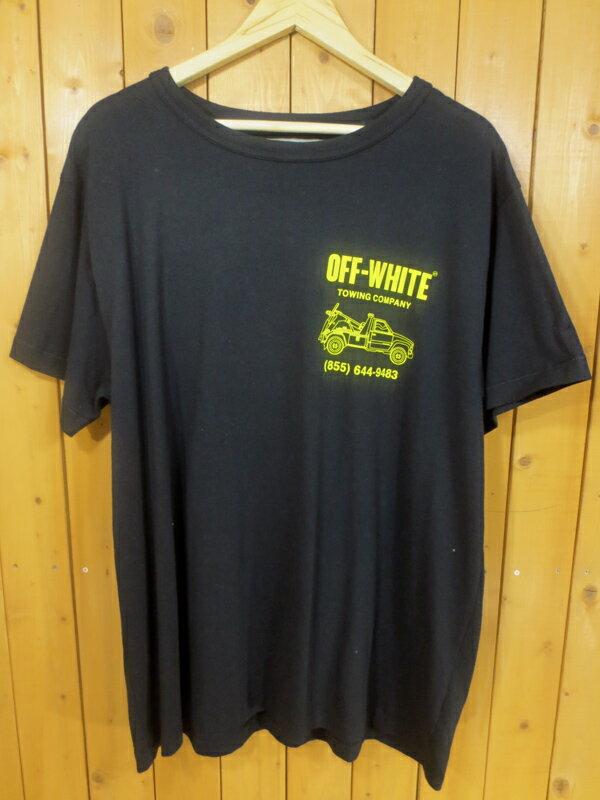 【中古】OFF-WHITE/オフホワイト プリント 半袖Tシャツ サイズ:M カラー:ブラック×イエロー / ストリート