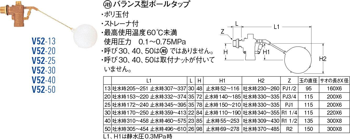 【送料無料】バランス型ボールタップ V52-25