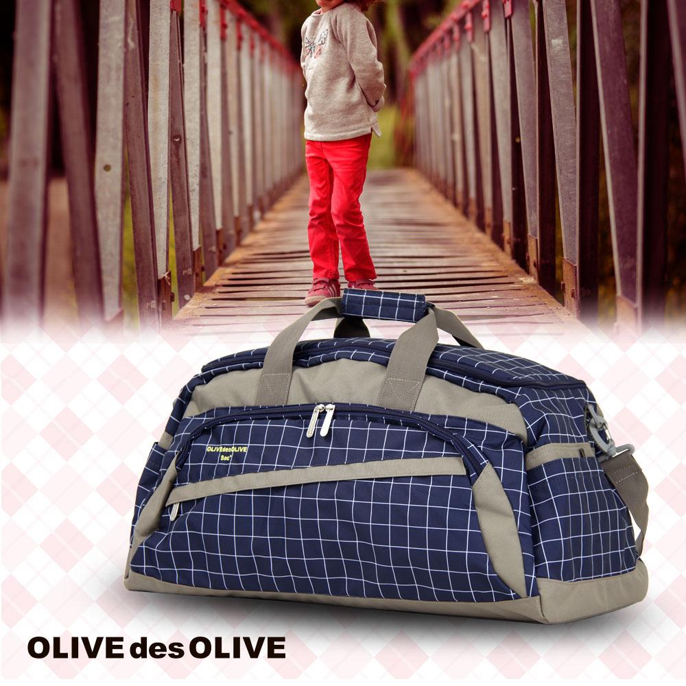ボストンバッグ バッグ かばん 鞄 旅行かばん ボストン 修学旅行 小学生 中学生 女の子 林間学校 M サイズ 研修 合宿 高校 水玉 格子柄 OLIVEdesOLIVE OLIVE-43958 直送