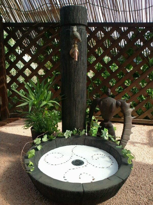 立水栓 水栓柱 立水栓セット丸太調立水栓柱&シンクセット