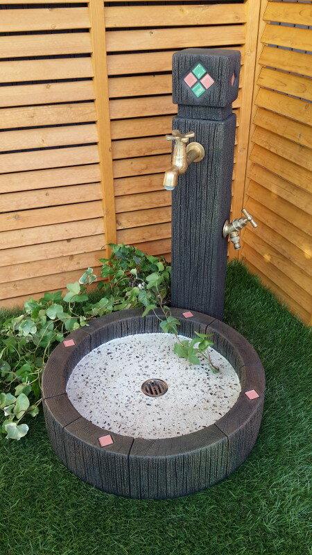 立水栓 水栓柱 立水栓セット枕木調ガラスタイル装飾立水栓・シンクセット(S)