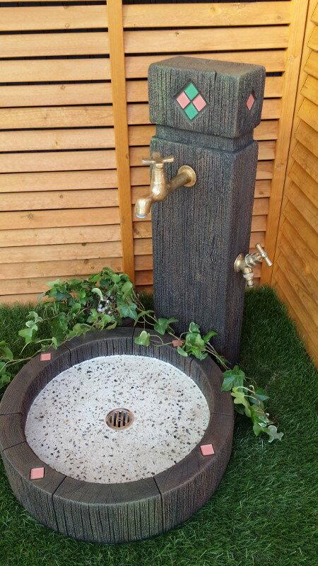 立水栓 水栓柱 立水栓セット枕木調ガラスタイル装飾立水栓・シンクセット(M)