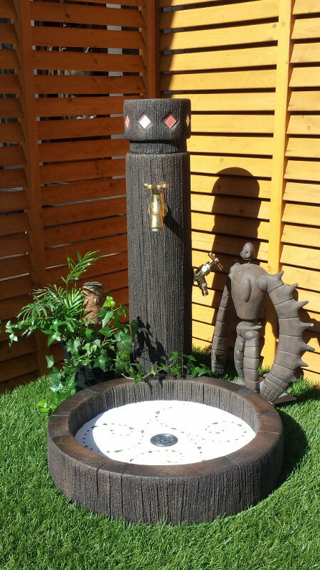 立水栓 水栓柱 立水栓セットガラスタイル入り【Aタイプ】丸太調 立水栓柱&シンクセット