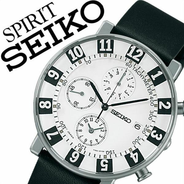 【5年保証対象】セイコー腕時計 SEIKO時計 SEIKO 腕時計 セイコー 時計 スピリット スマート SPIRIT SMART メンズ/ホワイト SCEB039 [革 ベルト/クオーツ/正規品/ SEIKO×SOTTSASS 限定 モデル/1000本/ブラック/シルバー][送料無料]