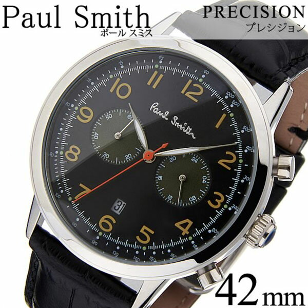 fa84b7f3ceb1 ポールスミス 時計 PaulSmith 腕時計 ポール スミス 腕時計 Paul Smith 時計 ポールスミス時計 プレシジョン PRECISION  メンズ ブラック P10011 革 ベルト クロノ ...