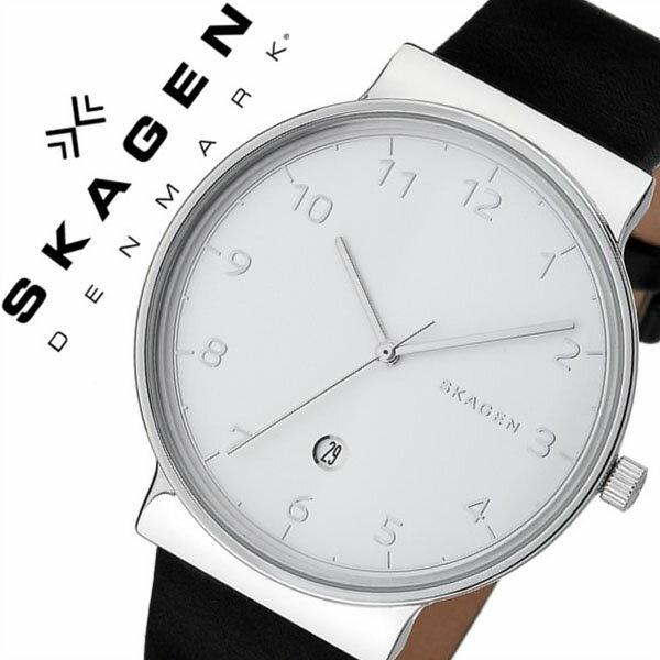 スカーゲン 腕時計[SKAGEN 時計]スカーゲン 時計[SKAGEN 腕時計]アンカー ANCHER メンズ/シルバー SKW6291[人気/ブランド/防水/薄型/革/レザー ベルト/ブラック/シンプル/北欧][送料無料]