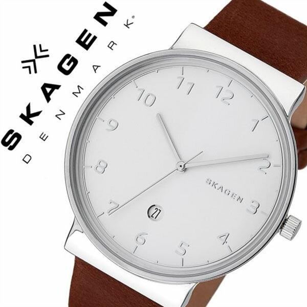 スカーゲン 腕時計[SKAGEN 時計]スカーゲン 時計[SKAGEN 腕時計]アンカー ANCHER メンズ/ホワイト SKW6292[人気/ブランド/防水/薄型/革/レザー ベルト/ブラウン/シンプル/北欧][送料無料]