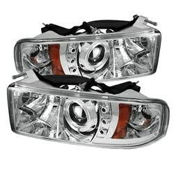 【本物保証】 【スパイダー (ライト)】( Spyder ) Dodge Ram 1500 94-01 / Ram 2500/3500 94-02 / 99-01 Ram Sport -  プロジェクターヘッドライト  - LED Halo - LED ( 交換可能 LEDs ) - クローム - High 9005 (Included) - Low H1 (Included)