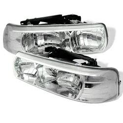 【スパイダー (ライト)】( Spyder ) Chevy Silverado 1500/2500 99-02 / Chevy Silverado 3500 01-02 / Chevy Suburban 1500/2500 00-06 / Chevy Tahoe 00-06 クリスタルヘッドライト - クローム