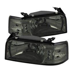 ぜっこうの 【スパイダー (ライト)】( Spyder ) Ford F150 92-96 / Ford Bronco 92-96 1PC LED ( 交換可能 LEDs ) クリスタルヘッドライト - スモーク