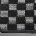 【アルト・アルトワークス HA36S/36V型   テイクオフ】アルトワークス/アルトRS(HA36S) フロアマット  チェッカーグレー/オーバーロックカラー・ライトパープル 運転席ヒールパッド無 運転席フックタイプ(センター/ドア側)