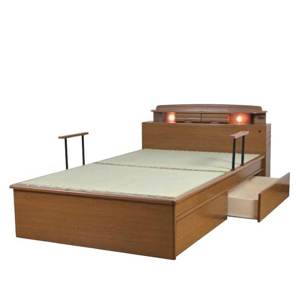 畳ベッド セミダブルベッド ベット ベッド 宮付き 収納機能付きベッド ベッドフレーム 木製 引き出し収納付き マットレス別売りです 楽天 通販 送料無料