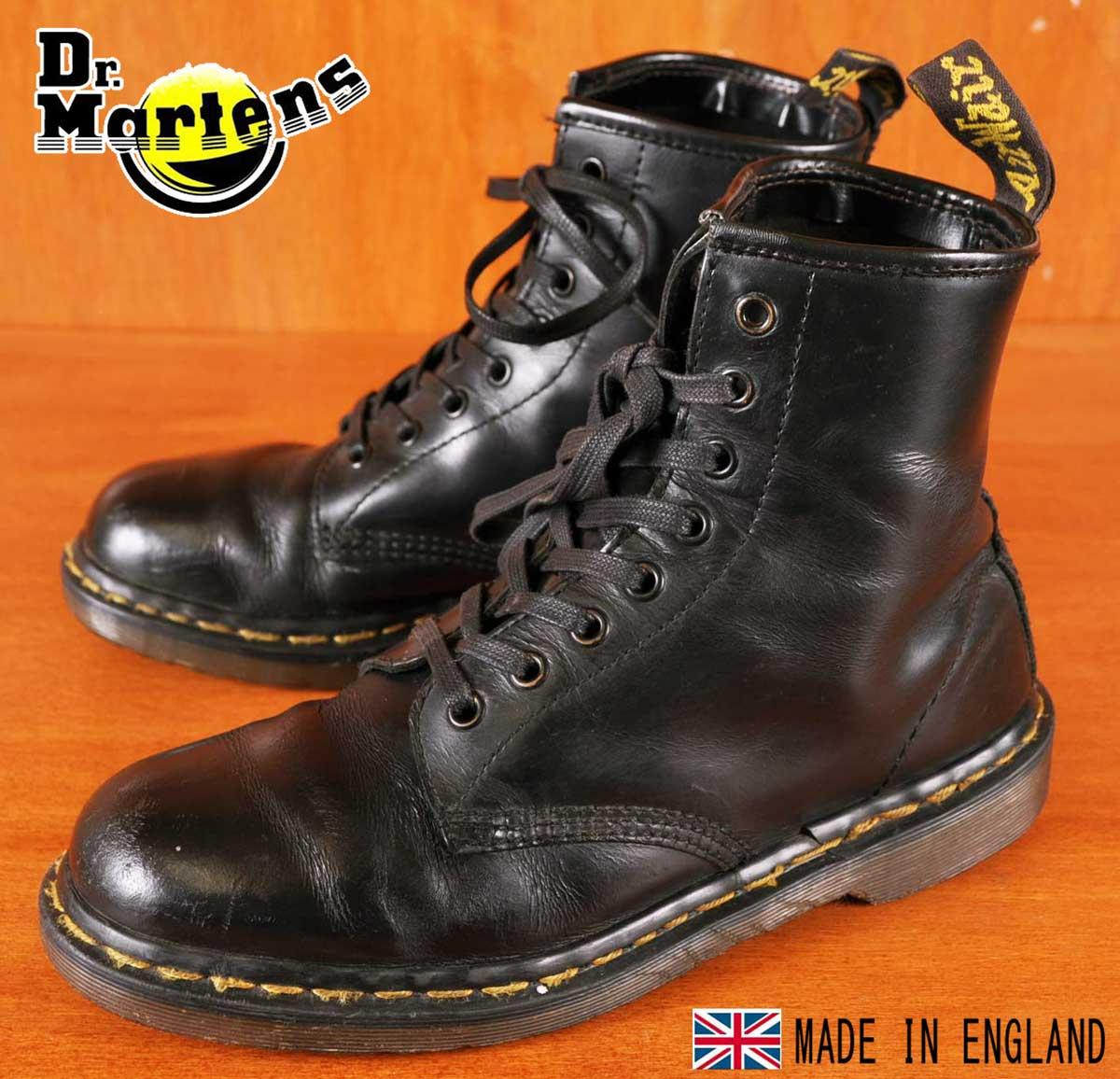 イングランド製 ヴィンテージ Dr.martens ドクターマーチン 8ホールブーツ ブラック レザー UK6 JPN25.0cm【中古】▼