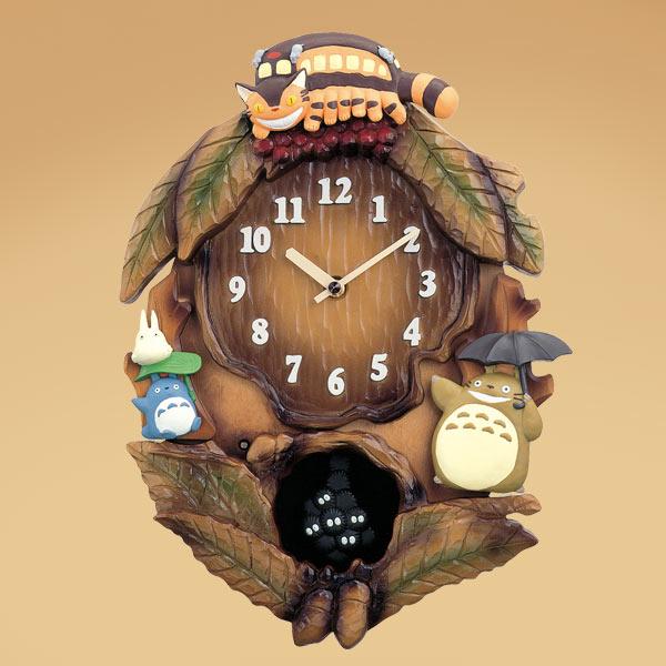 掛け時計 となりのトトロ メロディ 木枠(茶色ボカシ仕上げ) 飾り振子付き 取寄品 3週間前後
