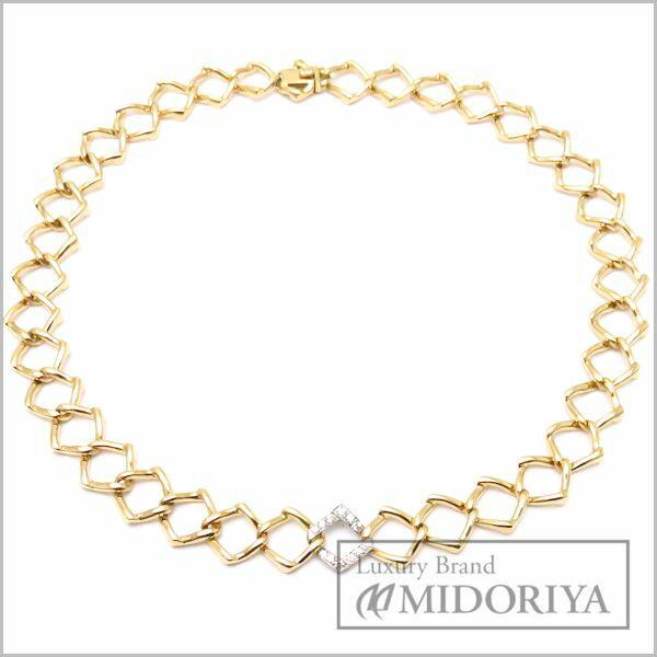 ティファニー Tiffany T&CO デザインネックレス ダイヤモンド K18YG 18金イエローゴールド/95982【中古】【クリーニング済】